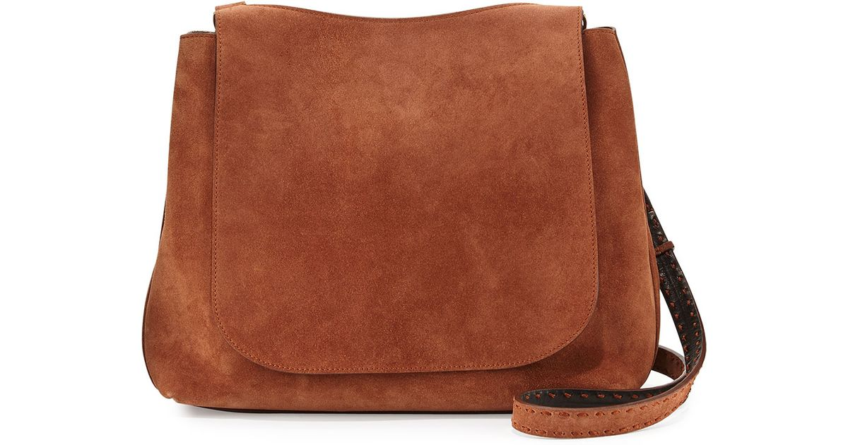 The row Sideby Suede Satchel Bag in Brown | Lyst