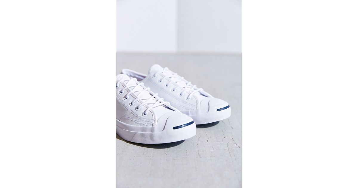 53059cc88a73 Lyst - Converse Jack Purcell Tumbled Leather Low-Top Sneaker in White