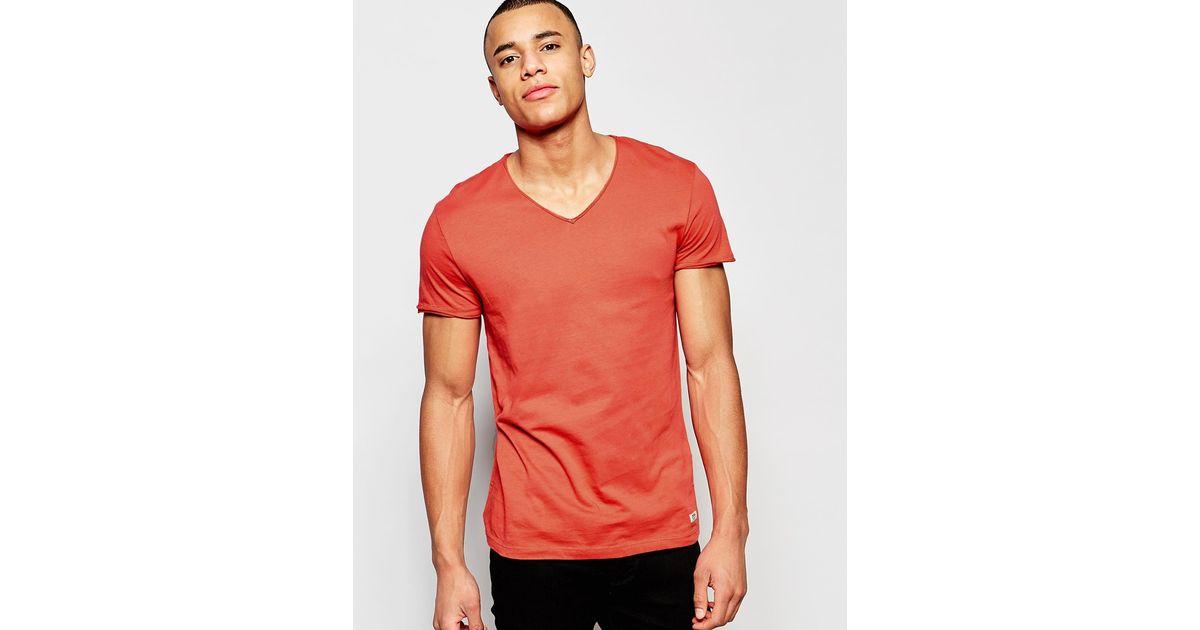 b81543f8bf15 Jack & Jones V-neck T-shirt in Red for Men - Lyst