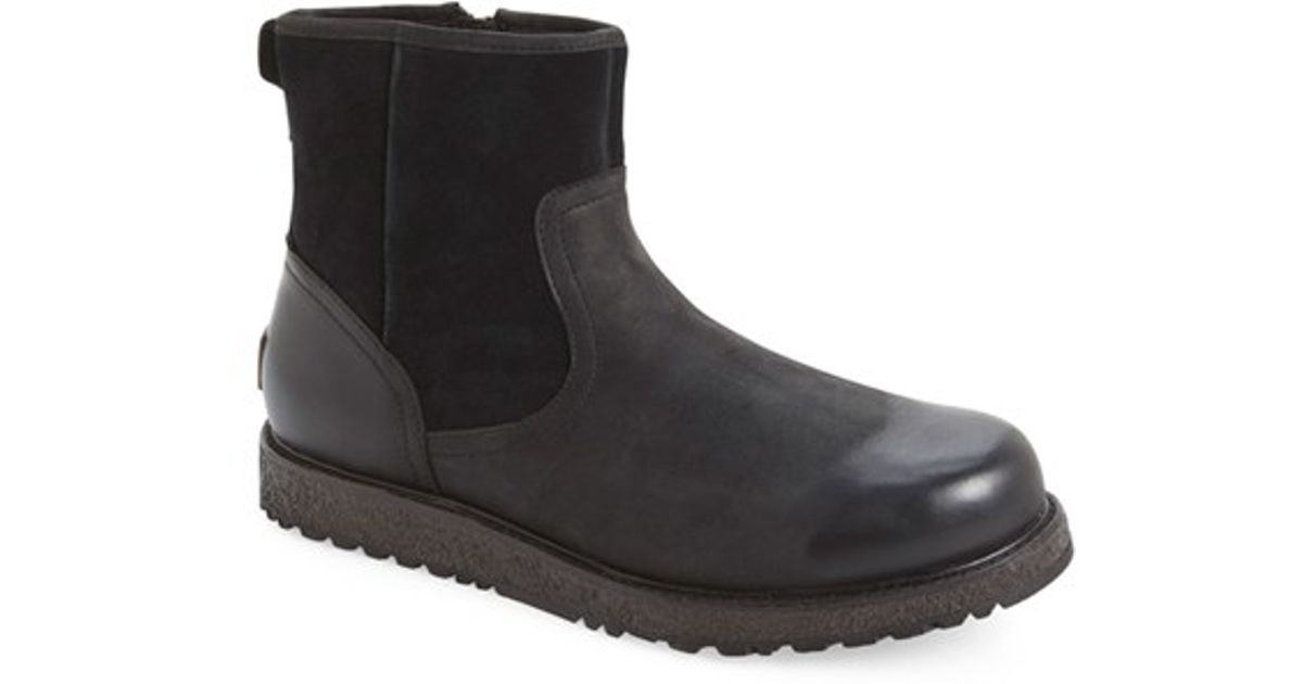 ugg witmore waterproof boot in black for lyst
