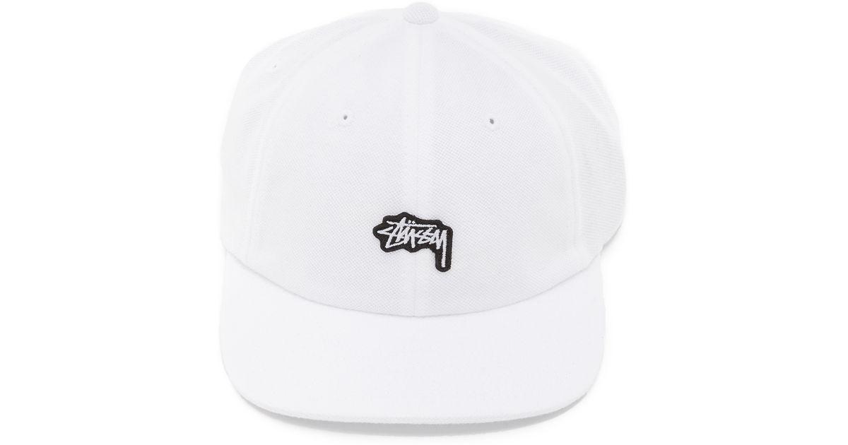 Lyst - Stussy Stock Pique Cap in White for Men 684cb60b549