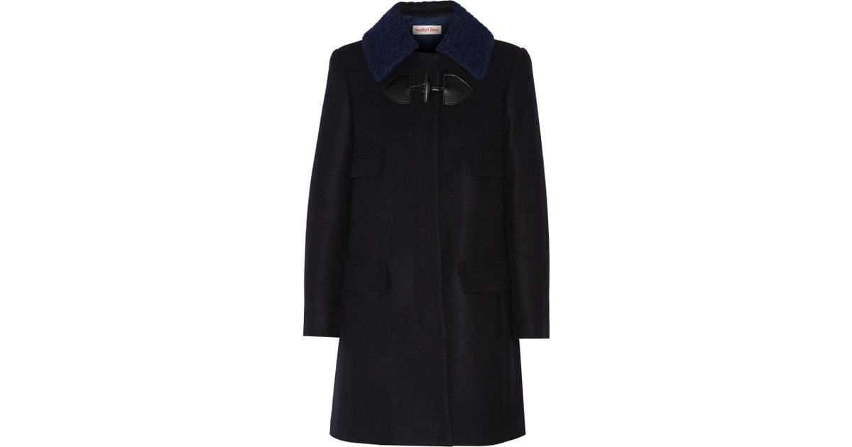 a7d38bcc46f2e See By Chloé Felt-trimmed Wool-blend Coat in Blue - Lyst
