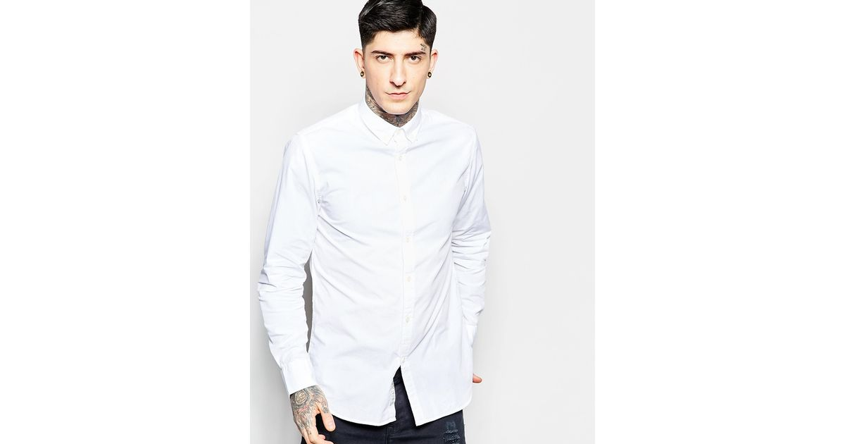 Produkt shirt with button down collar in slim fit in white for Slim fit white button down shirt