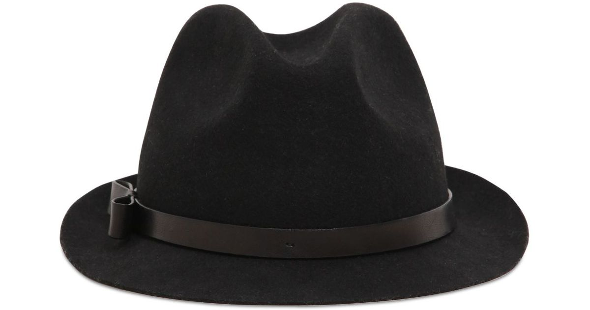 Lyst - RED Valentino Wool Felt Fedora Hat With Leather Band in Black 1831397459c3
