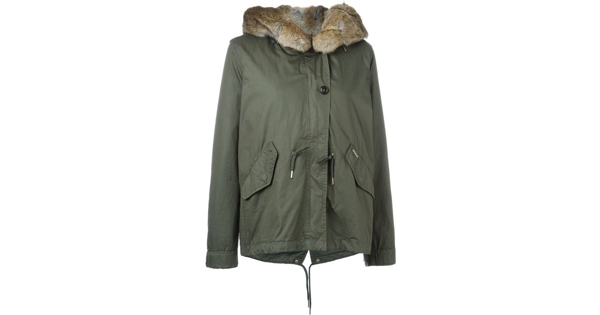 Woolrich Short Parka in Green | Lyst