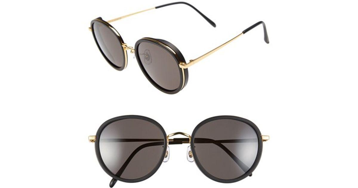 5fb5bcb6ef47e Gentle Monster 53mm Round Retro Sunglasses - Solid Black  Black Lens in  Black - Lyst
