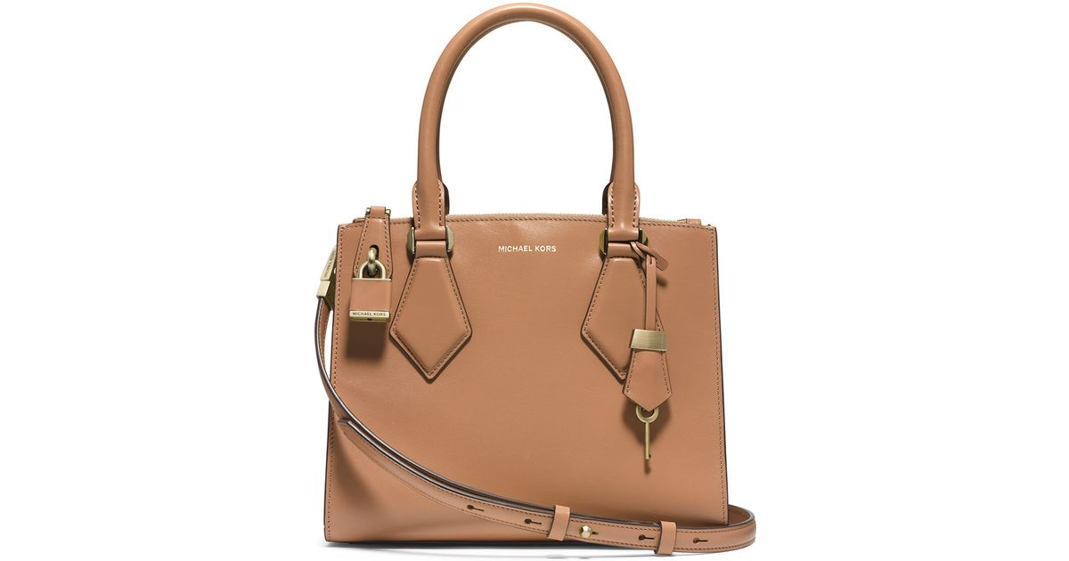 40ab3cd1e829 Lyst - Michael Kors Casey Small Leather Satchel Bag in Brown