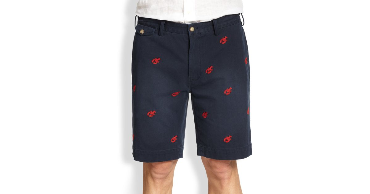 d3792afc5 ... inexpensive lyst polo ralph lauren greenwich classic fit embroidered  chino shorts in blue for men f709b