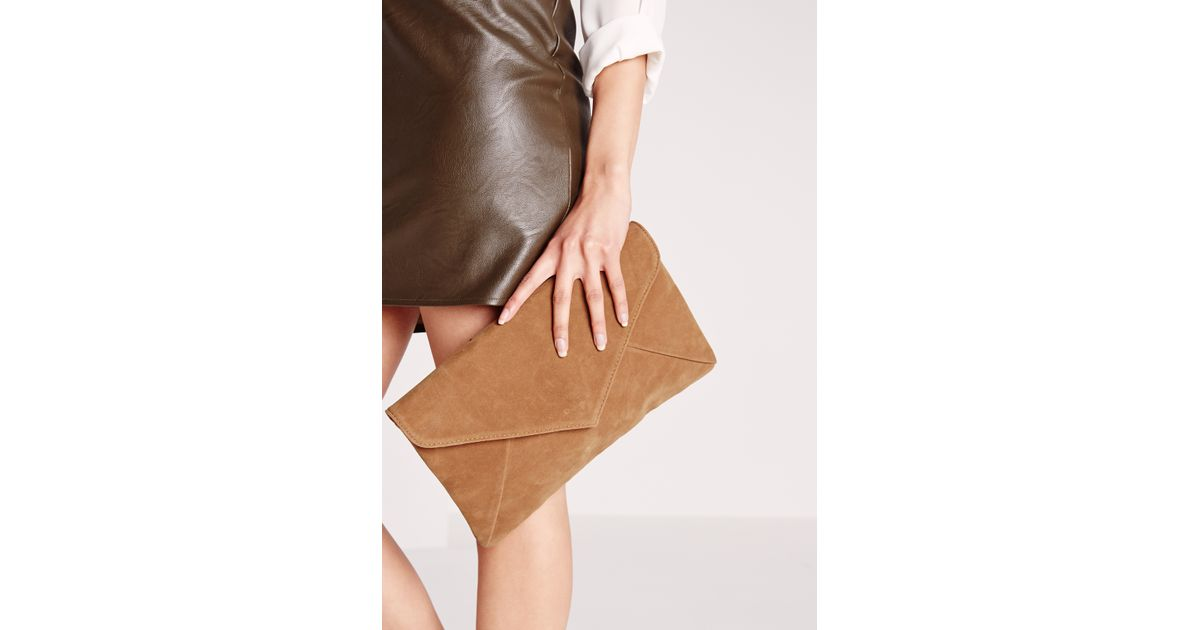 Missguided Faux Suede Envelope Clutch Bag Tan  | Lyst