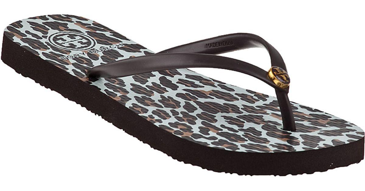 c65b934dd85a9a Tory Burch - Multicolor Thin Printed Flip Flop Leopard - Lyst