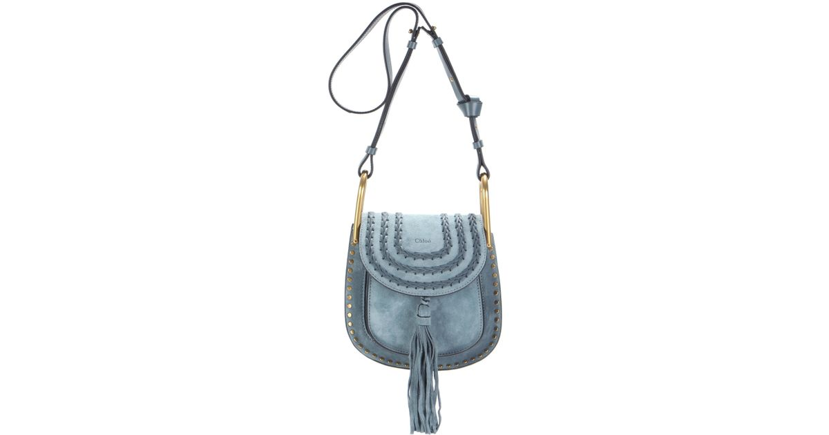 2bd78de43 Chloé Hudson Small Suede Shoulder Bag in Blue - Lyst