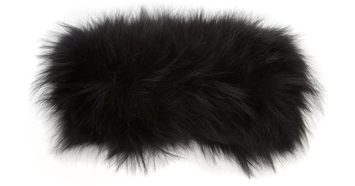 Lyst - Adrienne Landau Fur Headband in Black 83bb7932b28