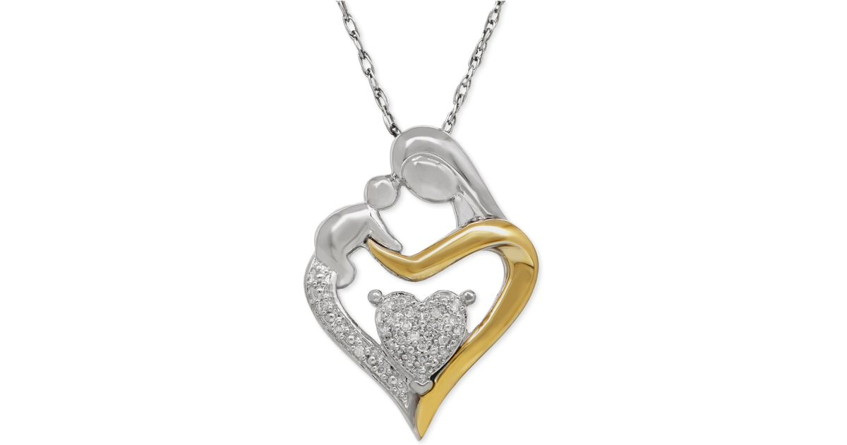 3a66eaf44e146 Lyst - Macy s Diamond Accent Mom And Infant Pendant Necklace In Sterling  Silver And 14k Gold in Metallic