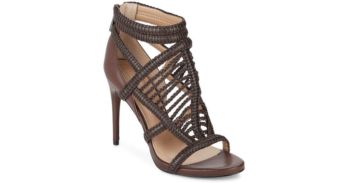 9dd36382f Lyst - BCBGMAXAZRIA Dori Braided Leather Sandals in Brown