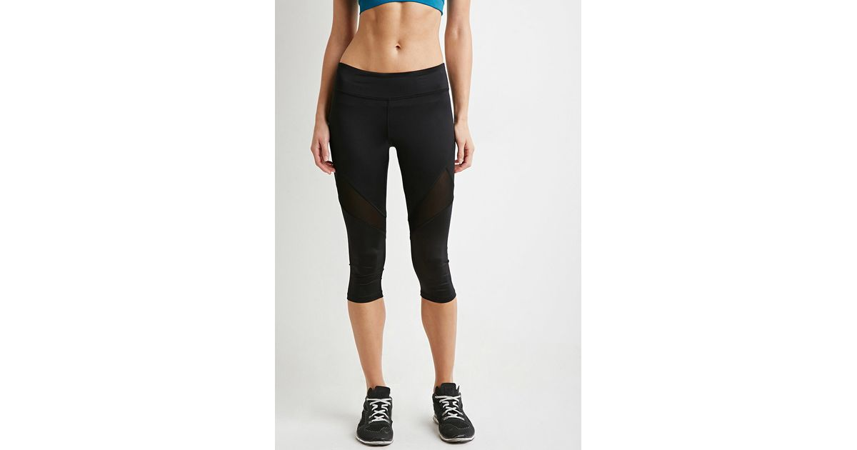 7d0857d29d Forever 21 Active Mesh Capri Leggings in Black - Lyst