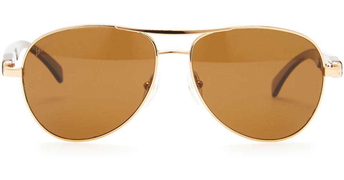 db7d680c78 Lyst - Brioni Horn   Metal Aviator Sunglasses in Brown for Men