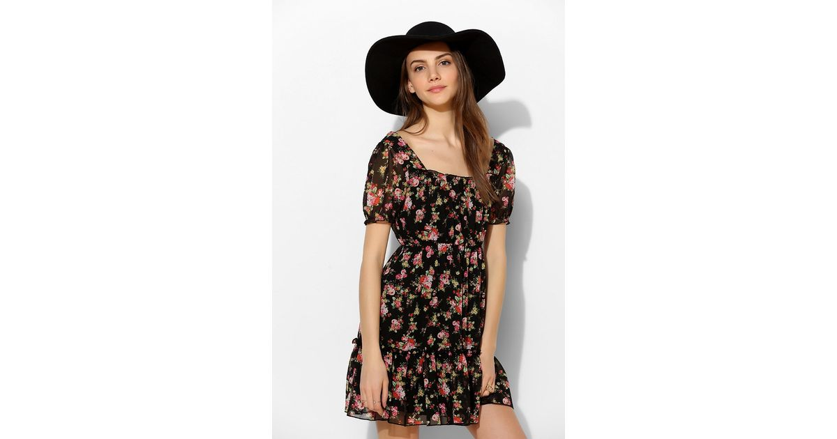 d02ef059e2f Lyst - Pins And Needles Floral Chiffon Puffsleeve Dress