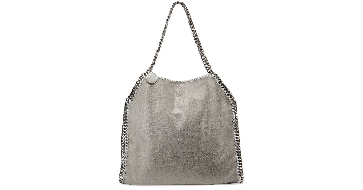 af7cf97183 Lyst - Stella McCartney Falabella Shimmery Faux-leather Big Tote Bag in Gray