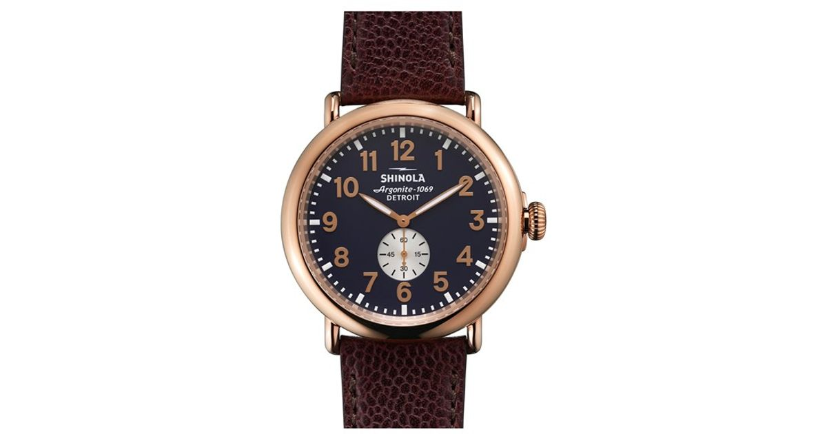 Shinola Runwell Leather Strap Watch In Red For Men Lyst