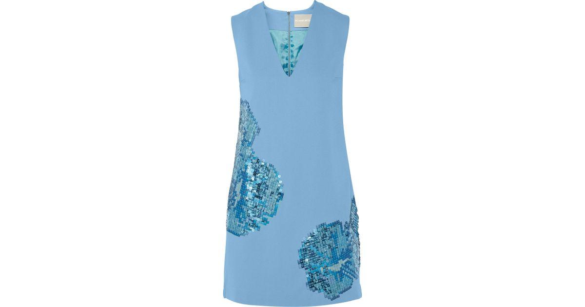 de8134d9dda7 Richard Nicoll Sequin-Embellished Stretch-Crepe Mini Dress in Blue - Lyst