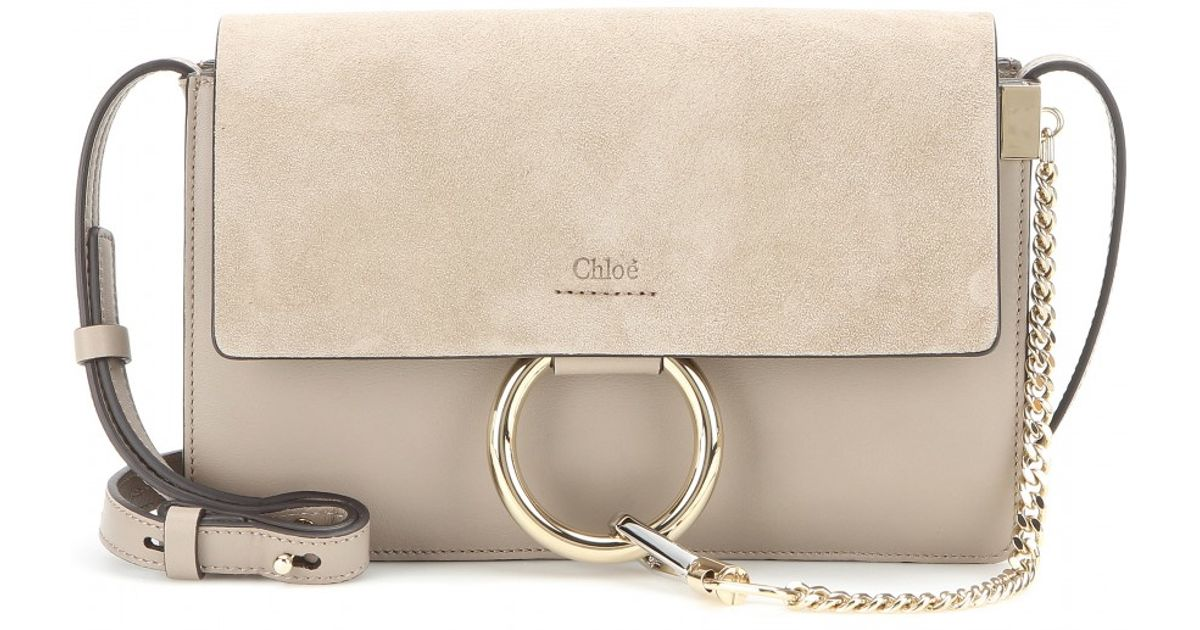 Lyst - Chloé Faye Small Leather and Suede Shoulder Bag in Gray 56c0c12ac4d5a