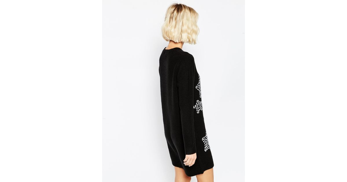 d6dc563f6aa ASOS Christmas Jumper Dress With Embellished Stars in Black - Lyst