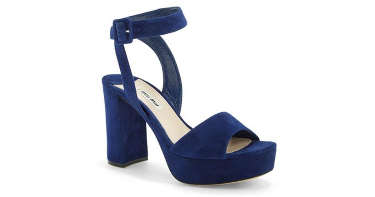18a3cdad67b Lyst - Miu Miu Block Heel Platform Sandal in Blue
