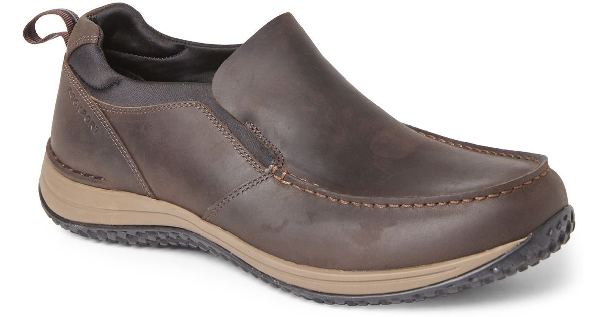 rockport brown walk360 slip on shoes in brown for lyst