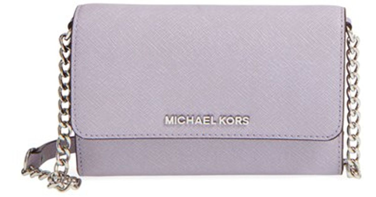 Lyst Michael Kors Large Jet Set Saffiano Leather Crossbody Bag Purple In Gray