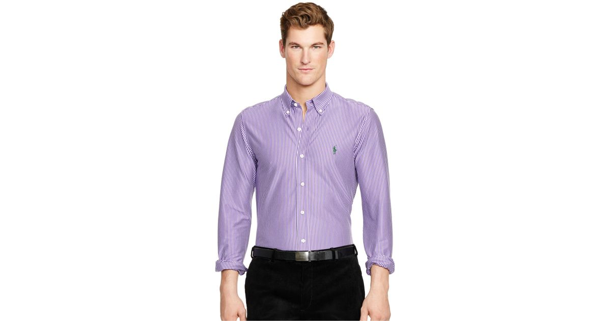 polo ralph lauren striped knit dress shirt in purple for