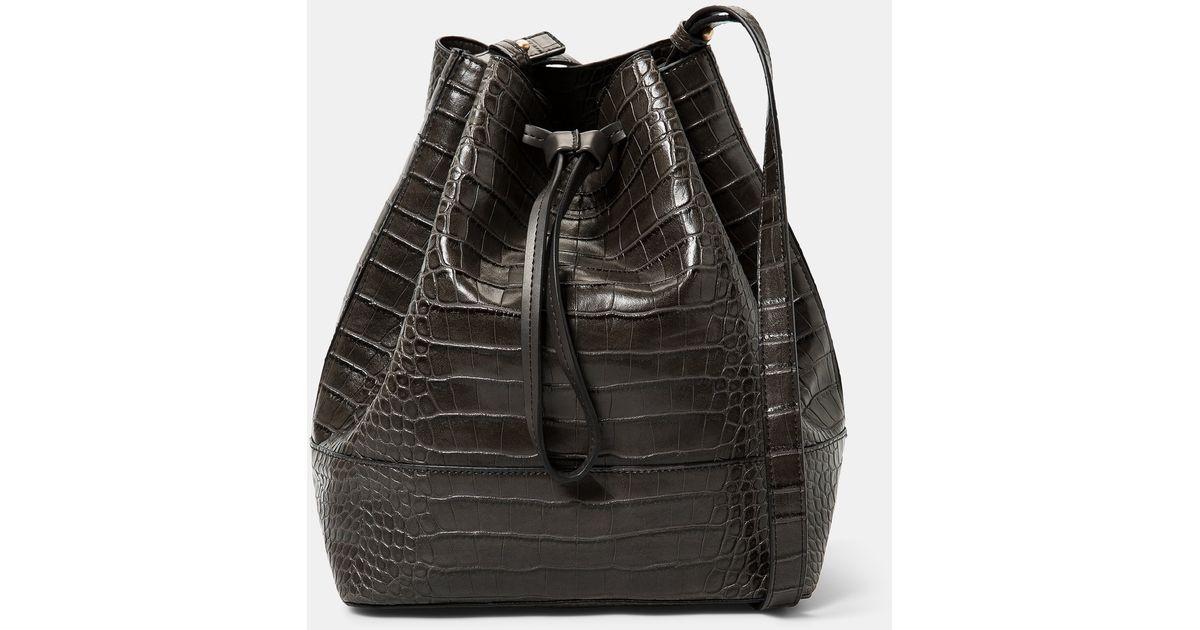 ed3d0d4dbc581 Lyst - Violeta By Mango Croc-effect Bucket Bag in Gray