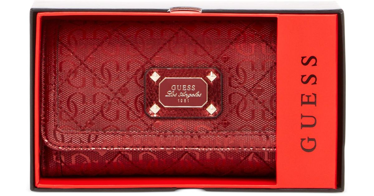 893daaaec752 Lyst - Guess Juliet Boxed Slim Clutch Wallet in Red