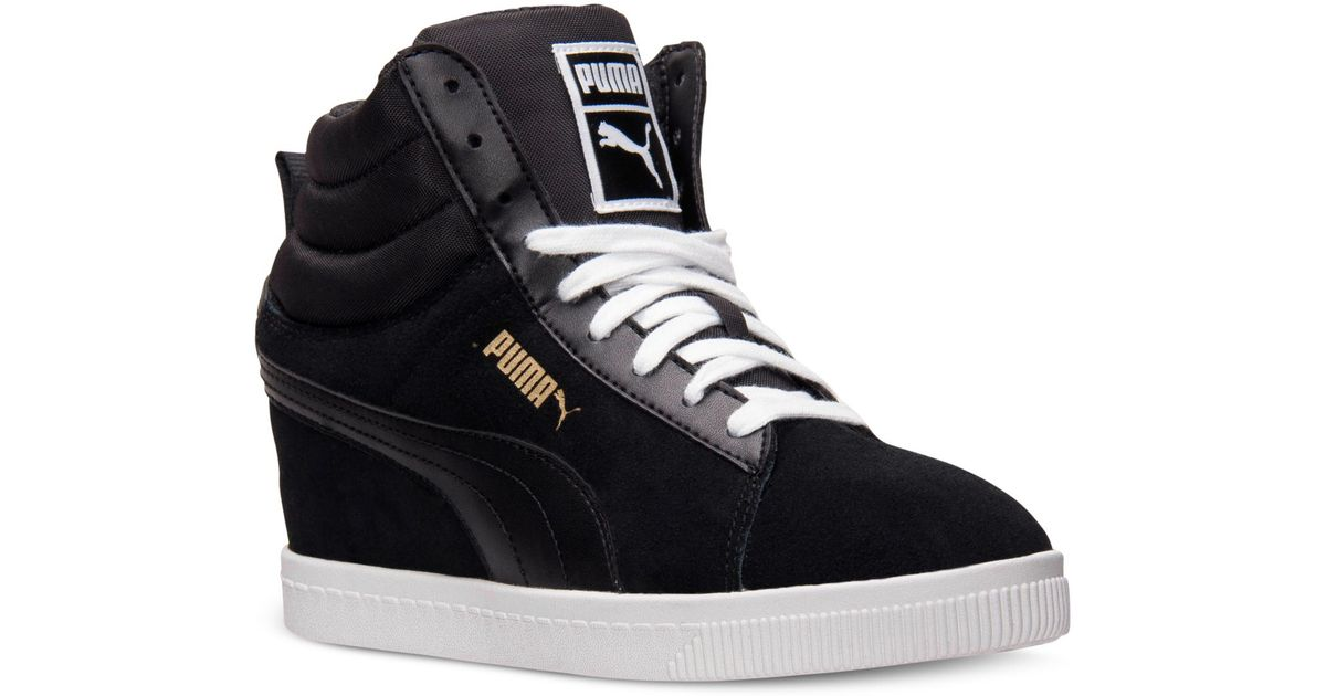e68a546b2385 Lyst - PUMA Women S Classic Wedge Casual Sneakers From Finish Line in Black