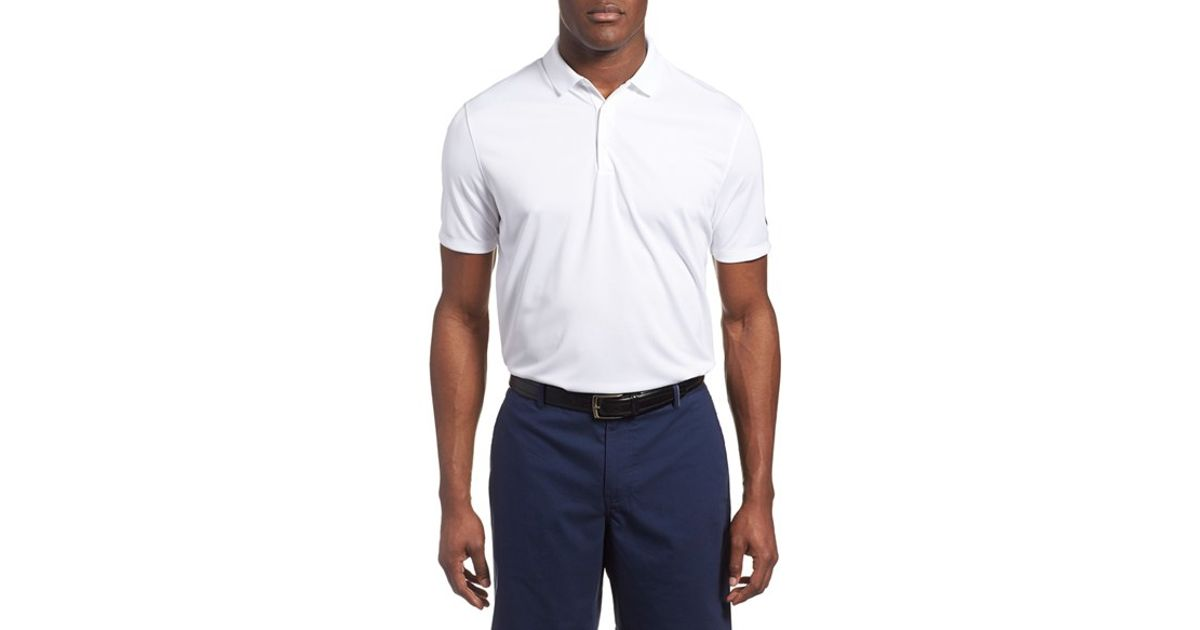 Nike 39 victory dri fit golf polo in white for men lyst for Nike dri fit victory golf shirts
