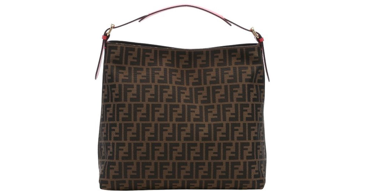 32c411d49330 Lyst - Fendi Ecstasy Leather And Tobacco Zucca Canvas Large Hobo Bag in  Brown