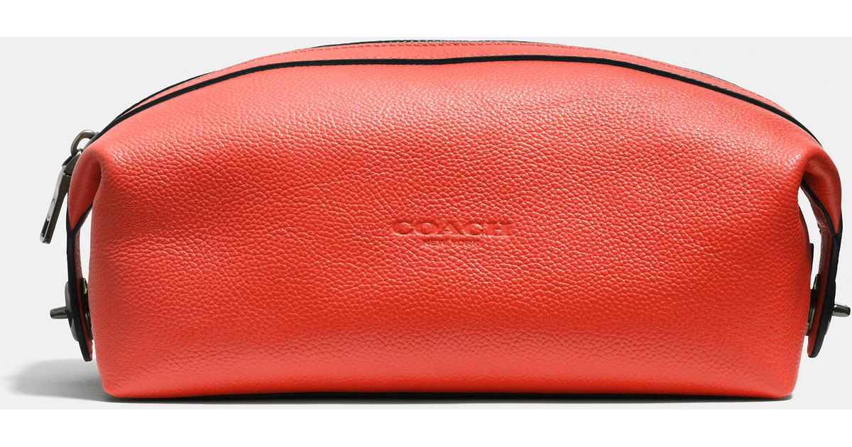 cc5c4e3d28 Lyst - COACH Dopp Kit In Refined Pebble Leather in Red for Men