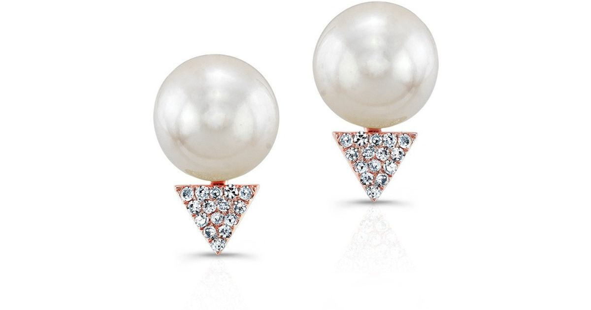 Lyst Anne Sisteron 14kt Rose Gold Pearl Diamond Triangle Stud Earrings In Pink