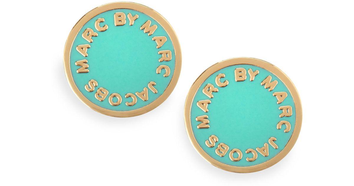 3dd347818edf4 Lyst - Marc By Marc Jacobs Enamel Logo Disc Stud Earrings Blue in Green