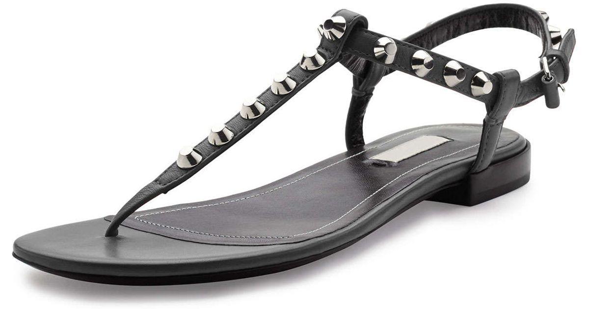 c0ac86dfaf9ca Lyst - Balenciaga Studded Leather Thong Sandals in Black