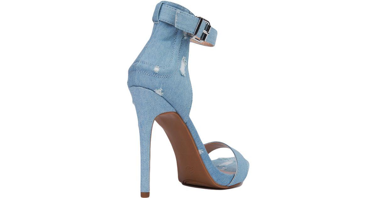 27b9d01bd8ac Lyst - AKIRA Distressed Denim Heeled Sandals - Blue in Blue