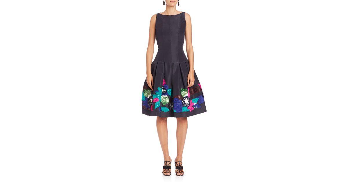 Lyst - Oscar De La Renta Floral Applique Silk Dress in Blue