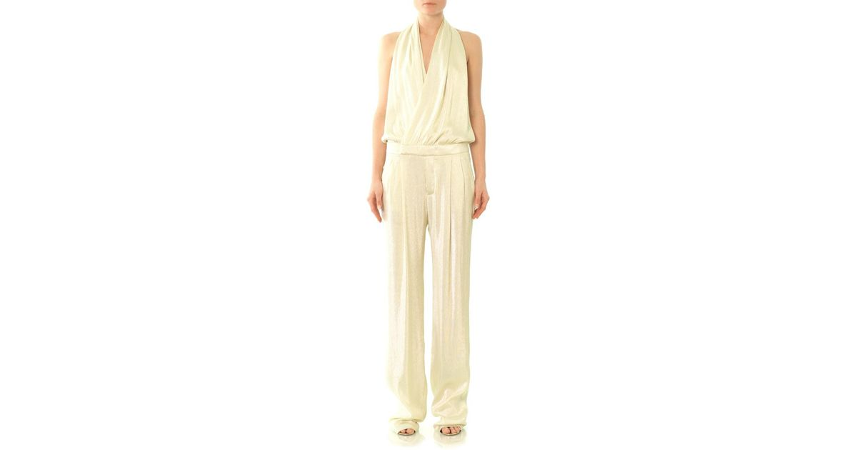 a8b79b3e5a9 Lyst - Gucci Liquid Lamé Jumpsuit in White