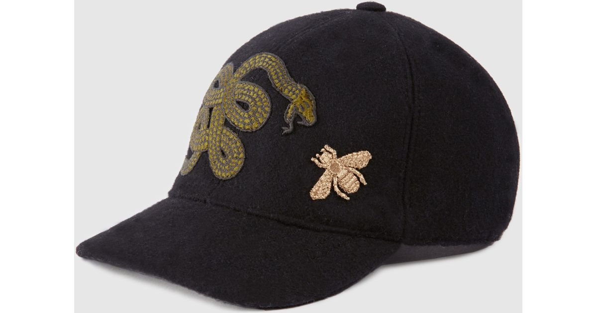 8874ad1d203 Lyst - Gucci Felt Hat With Snake And Bee for Men