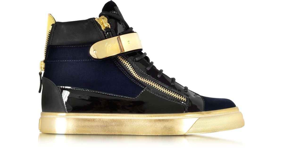 68d501a68b3e Lyst - Giuseppe Zanotti Coby Navy Velvet And Patent Leather High-top Sneaker  in Blue
