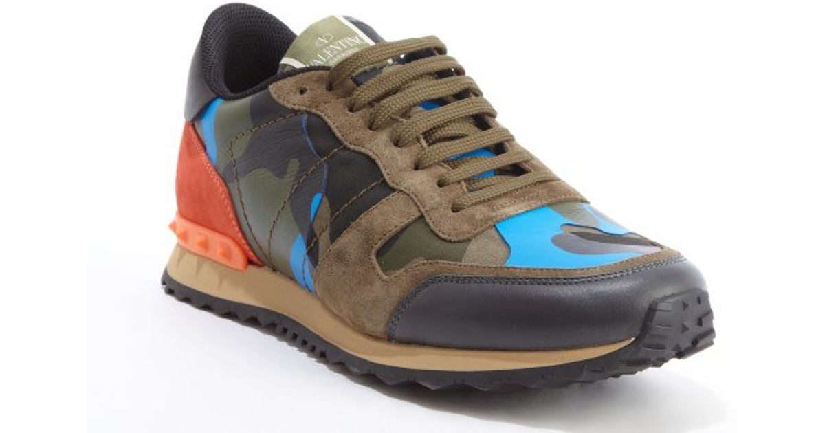 Blue and green camouflage sneakers Valentino UrbJlWVNfU