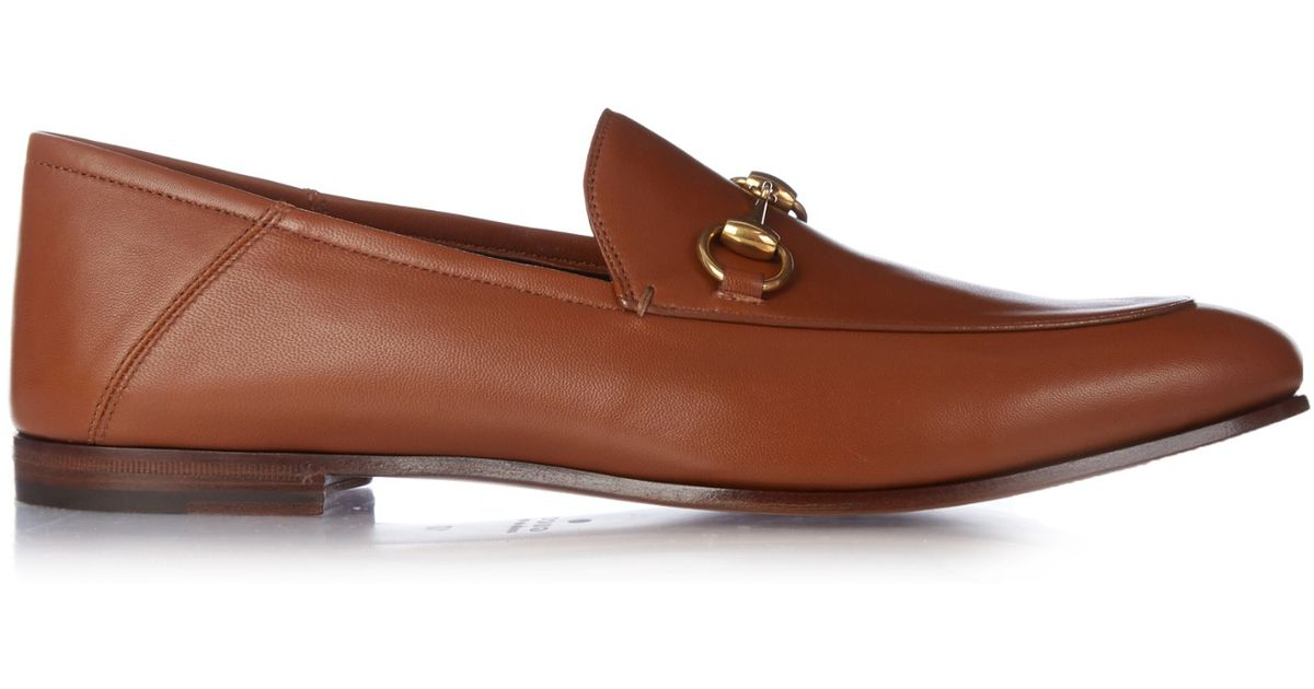 1bbccdcdc65 Lyst - Gucci Brixton Leather Loafers in Brown for Men