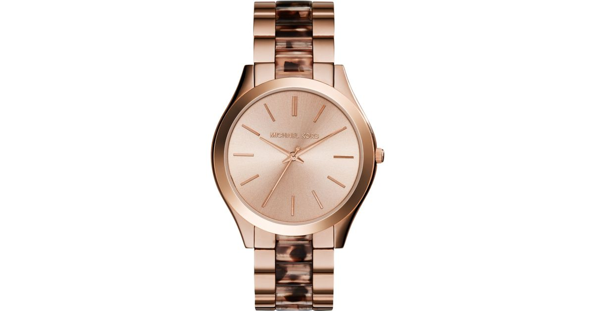 2b2e0dcac21c Lyst - Michael Kors Women S Slim Runway Blush Tortoise And Rose Gold-Tone  Stainless Steel Bracelet Watch 42Mm Mk4301 in Metallic