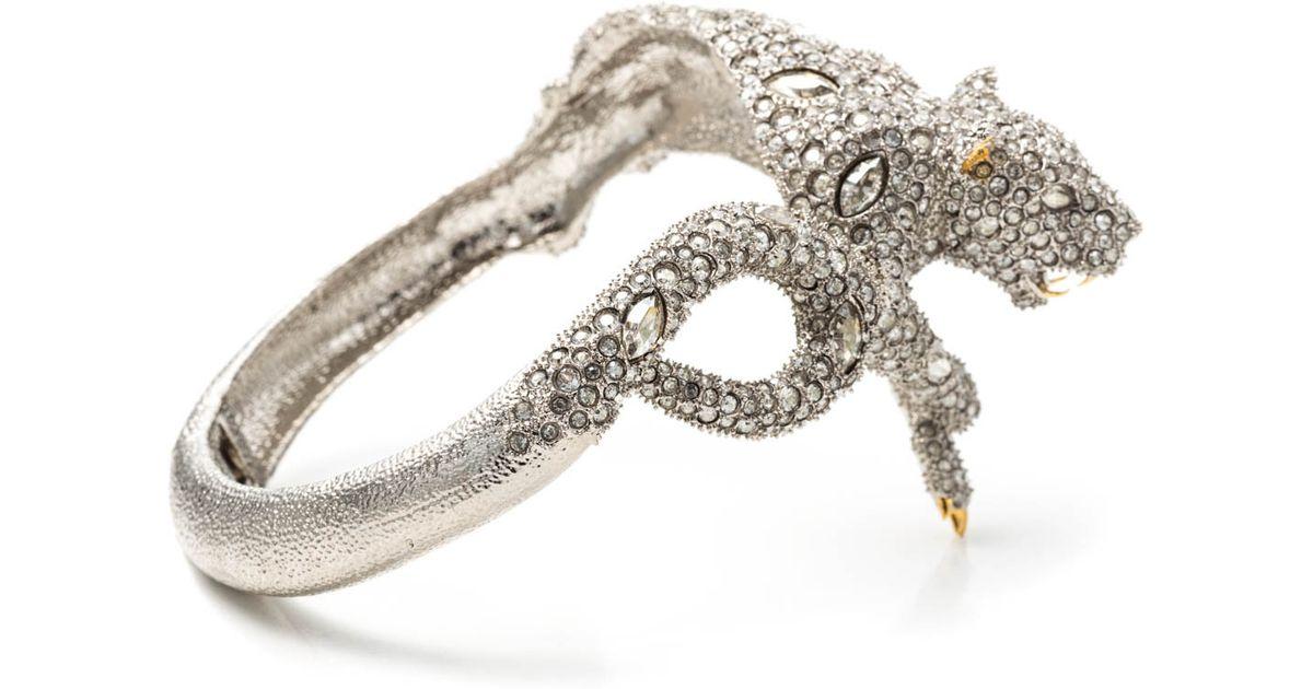 Lyst Alexis Bittar Moonlight Resting Panther Hinged Bracelet In Metallic