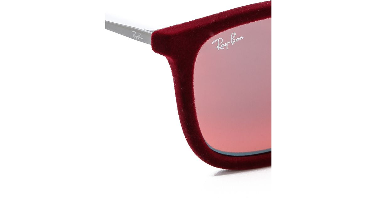304d2cf1fb Lyst - Ray-Ban Youngster Square Velvet Sunglasses - Flock Grey in Red