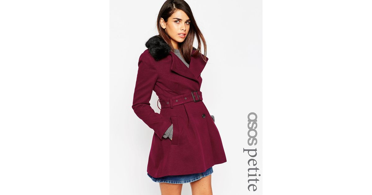 Asos Petite Skater Coat With Faux Fur Collar in Red | Lyst